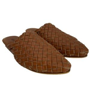 Mihaleo Paloma Woven Leather Mule in Tan Brown